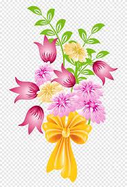 باقة وردية وصفراء باقة ورد باقة زهور تنسيق الزهور الزفاف Png