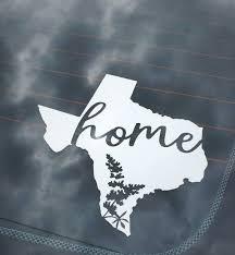 Texas Car Decal Texas Is Home Car Sticker Texas Bluebonnet Etsy