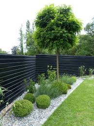 Dark Black Or Dark Grey Fences Receded And Highlight The Planting In Front Home Decor H Modern Backyard Landscaping Fence Landscaping Backyard Landscaping