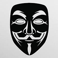 Amazon Com Anonymous Mask Black Vinyl Decal Anonymous Stickers V For Vendetta Sticker Guy Fawkes Sticker Hacker Mask Sticker Anonymous Decal Premium Quality 5 5 Inches D013 Automotive
