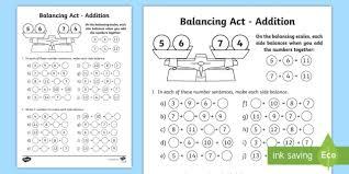 ks1 balancing act addition worksheet
