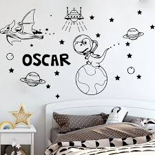 Personalized Name Dinosaur Space Astronomy Wall Sticker Kids Room Dinosaur Spaceship Planets Meteorite Stars Moon Wall Decal Wall Stickers Aliexpress