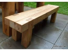 rustic oak beam long garden bench 2