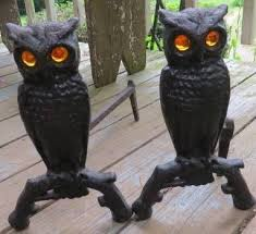 cast iron metal owl fireplace andiron