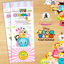 Tsum Tsum Invitation Tsum Tsum Ticket Invitation Tsum Tsum