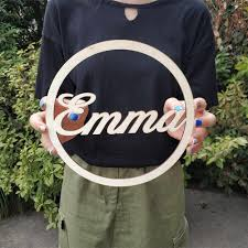 Custom Name Wood Sign Circle Name Sign Nursery Name Signs Kids Room Wall Decoration Baby Shower Party G Decorative Letters Numbers Aliexpress