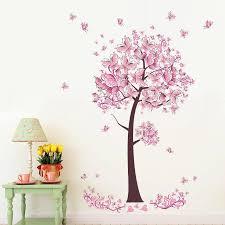 Pink Butterfly Flower Tree Wall Stickers Decals Girls Women Flower Mural Vinyl Wallpaper Home Living Room Bedroom Decor Bedroom Decor Tree Walltree Wall Sticker Aliexpress