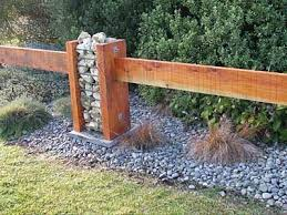 Timber And Lose Stone Fence Column Fence Landscaping Fence Design Gabion Fence