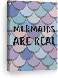 Amazon Com Smile Art Design Mermaids Are Real Quote Mermaid Decor Canvas Print Kids Room Decor Wall Art Baby Room Decor Nursery Decor Ready To Hang Made In The Usa 28x19 Posters