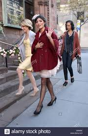Amanda Setton Celebrities on the set of 'Gossip Girl' filming on ...