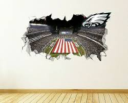 Philadelphia Eagles Wall Art Decal 3d Smashed Kids Bedroom Wall Decor Wl151