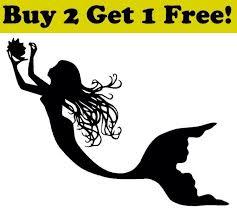 Mermaid Vinyl Decal Sticker Car Bumper Window Wall Ocean Sea Ariel For Sale Online