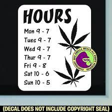 Marijuana Cannabis Hours Custom Text Vinyl Decal Sticker Gorilla Decals