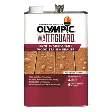 Olympic Waterguard 1 Gal Woodland Cedar Semi Transparent Wood Stain And Sealer 55177 01 The Home Depot
