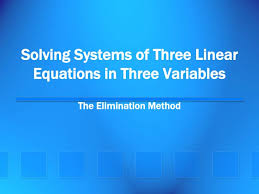 ppt solving systems of three linear