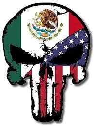 Amazon Com Mexico Usa Flag Punisher Skull Vinyl Decal Sticker By Universal Tagline Kitchen Dining