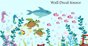 Sea Collection Wall Decals Coral For Bedroom Under The Canada Art Creature Carter S Amazon Turtle Vamosrayos