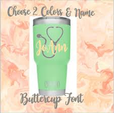 Personalized Monogram Nurse Vinyl Decal For Tumblers Cups Stethoscope Name 3 Ebay