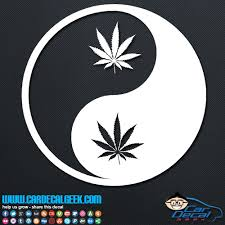 Pot Leaf Yin Yang Vinyl Car Decal Sticker Marijuana Decals