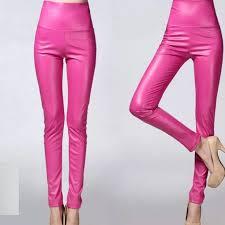 pink barbie faux leather pants