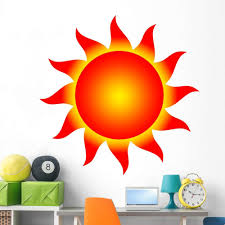 Amazon Com Wallmonkeys Bright Red Sun Wall Decal Peel And Stick Graphic 60 In W X 45 In H Wm331723 Furniture Decor