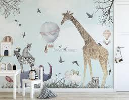 Kids Watercolor Woodland Animals With Giraffe Zebra Hippopotam Wallpaper Mural Wallmur