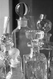 cut glass decanters in black and white