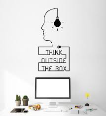 Vinyl Wall Decal Think Outside The Box Quote Idea Teen Room Stickers M Wallstickers4you