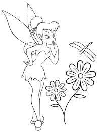 Tinkerbell Met Bloemen Kleurplaat Gratis Kleurplaten Printen
