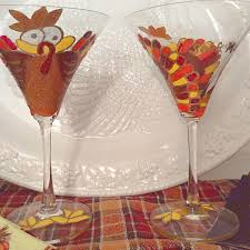 turkey matini glasses hand painted to