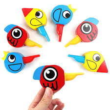1 PC Kids Whistles Toy Wooden Colorful Drawing Bird Shape Whistles ...