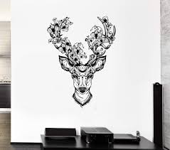 Wall Vinyl Sticker Decal Deer Horn Decoration Fantasy Forest Flower He Wallstickers4you