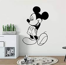 Amazon Com Wikaus Mickey Minnie Mouse Wall Art Decal Sticker Kids Room Decor Mickey Mouse Wall Sticker Cartoon Character Wall Decal Nursery Decor Removable Home Kitchen