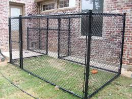 Black Vinyl Dog Cage Installed By Titan Fence And Supply Company Black Chain Link Fence Black Fence Dog Kennel