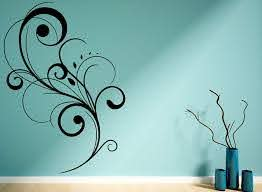 Amazon Com Floral Swirl Wall Decals Stickers Id031 Black 15 Inches Home Kitchen