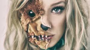 scary teddy bear split face
