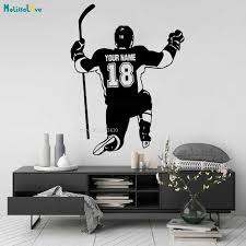Vinyl Wall Decals Home Decor Art Sticker Hockey Playersport Custom Name And Number Boys Room Removable Murals New Design Yt2475 Aliexpress