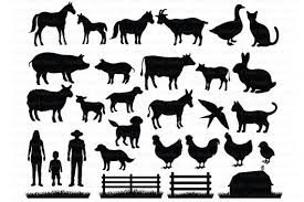 Farm Svg Farm Animals Svg Files For Silhouette And Cricut Hen Rooster Cow Pig Horse Barn Fence Goose Donkey Rabbit Farmer Family By Doodle Cloud Studio Catch My Party
