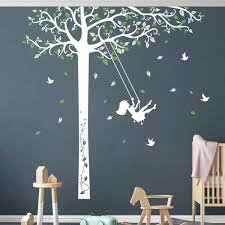 Amazon Com Decalmile Large White Tree With Swing Girl Wall Decals Green Leaves Birds Wall Stickers Baby Nursery Kids Room Girls Bedroom Living Room Wall Decor Tree Height 190cm Arts Crafts Sewing