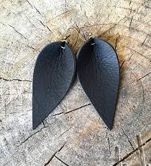leather leaf earrings leather earrings