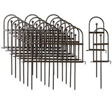 Plow Hearth Pewter Wrought Iron Fence Outdoor Garden Edging With Decorative Design Target