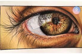 نقاشی چشم با مداد رنگی - طراحی روشن