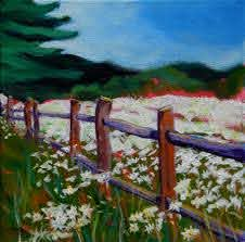 Daisies At The Fence Pam Van Londen