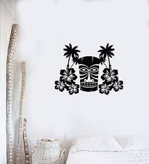 Vinyl Wall Decal Hawaiian Flowers Tree Palms Mask Tiki Bar Hawaii Art Wallstickers4you
