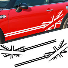2pcs Pair Car Side Door Sticker Decals Vinyl Car Decal Accessories Styling For Mini Cooper S L R Wish