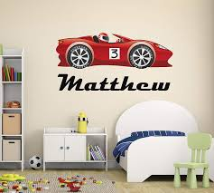 Personalized Racing Name Wall Decal Racing Name Wall Decal Race Car Theme Nursery Baby Room Mural Art Decor Vinyl Sticker 30 W X 16 H Amazon Com