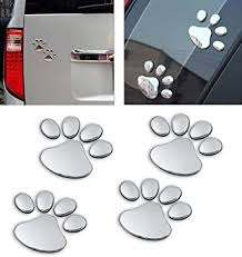 Amazon Com Lzlrun 3d Chrome Dog Paw Footprint Sticker Decal Auto Car Emblem Decal Decoration Silver Automotive
