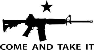 Amazon Com Come And Take It Ar 15 Gun Vinyl Decal Sticker Bumper Car Truck Window 8 Wide Matte White Color Arts Crafts Sewing