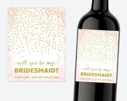 bridesmaid proposal wine labels strawberry and hearts