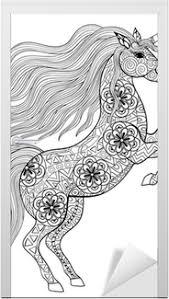 Poster Getrokken Magic Unicorn Voor Volwassen Anti Stress